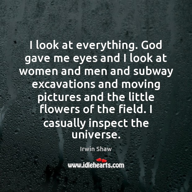 Image, I look at everything. God gave me eyes and I look at