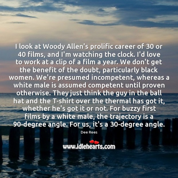 Image, I look at Woody Allen's prolific career of 30 or 40 films, and I'm