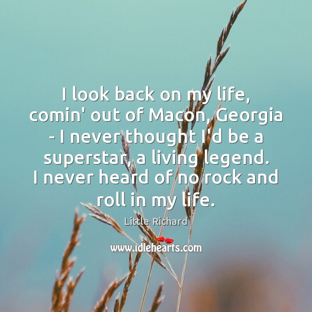 I look back on my life, comin' out of Macon, Georgia – Image