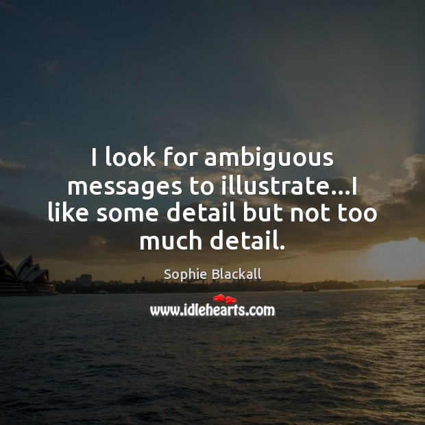I look for ambiguous messages to illustrate…I like some detail but not too much detail. Sophie Blackall Picture Quote