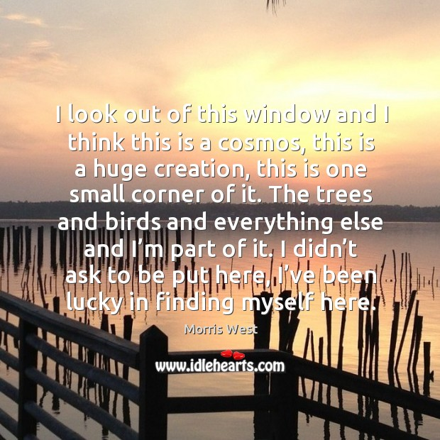 I look out of this window and I think this is a cosmos, this is a huge creation Morris West Picture Quote