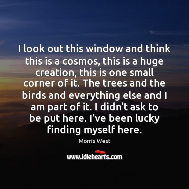 I look out this window and think this is a cosmos, this Morris West Picture Quote