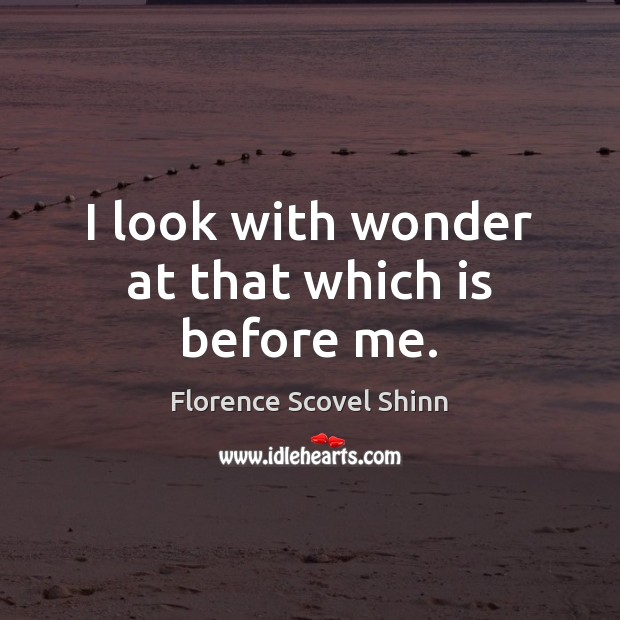I look with wonder at that which is before me. Image