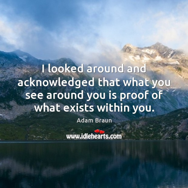 I looked around and acknowledged that what you see around you is Image