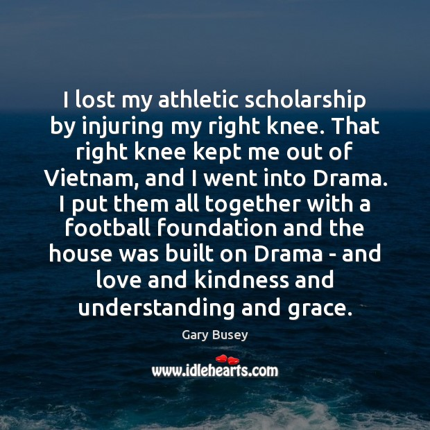 Image, I lost my athletic scholarship by injuring my right knee. That right