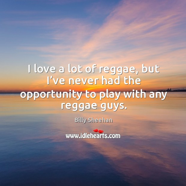 Image, I love a lot of reggae, but I've never had the opportunity to play with any reggae guys.
