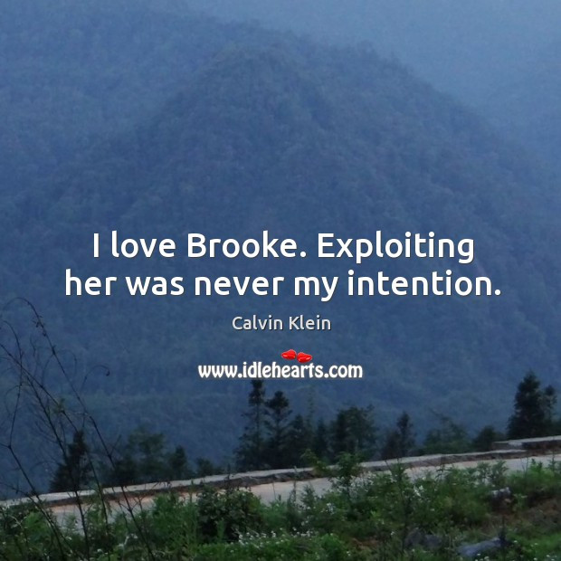 Image, I love brooke. Exploiting her was never my intention.