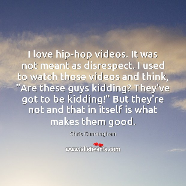 I love hip-hop videos. It was not meant as disrespect. I used Image