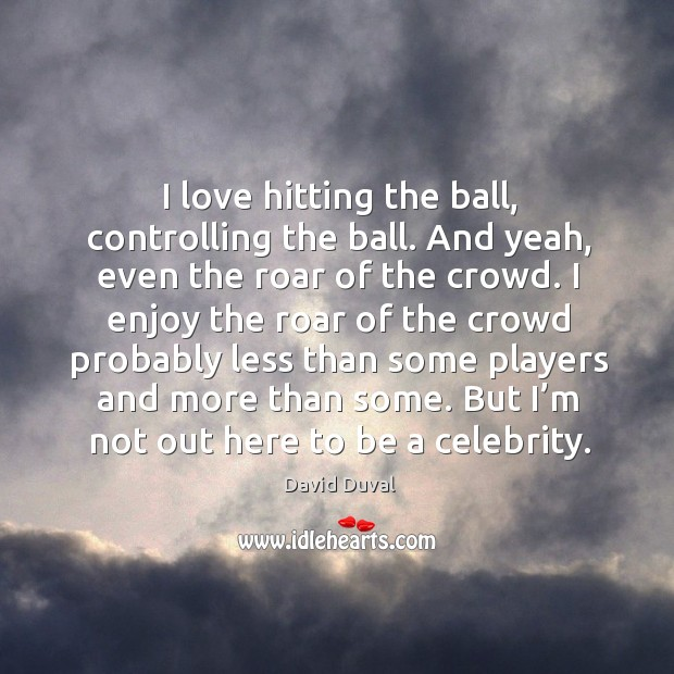I love hitting the ball, controlling the ball. And yeah, even the roar of the crowd. David Duval Picture Quote