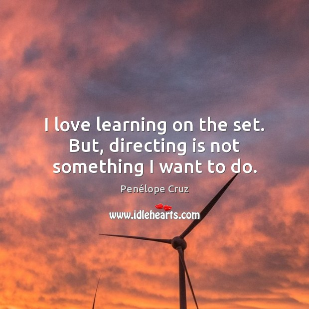 Penélope Cruz Picture Quote image saying: I love learning on the set. But, directing is not something I want to do.
