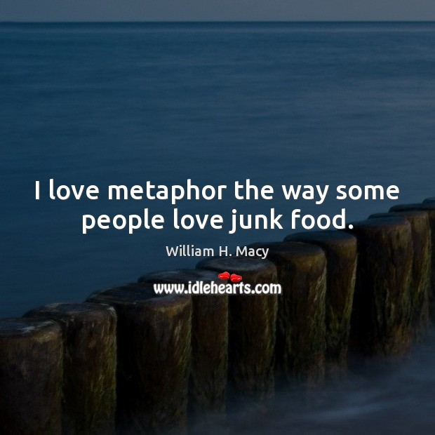 William H. Macy Picture Quote image saying: I love metaphor the way some people love junk food.
