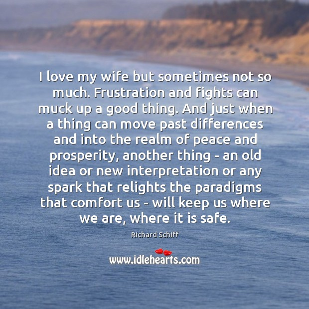 I love my wife but sometimes not so much. Frustration and fights Richard Schiff Picture Quote