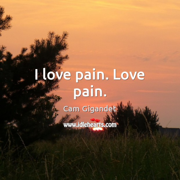 I love pain. Love pain. Cam Gigandet Picture Quote