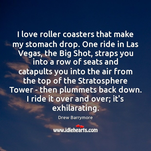I love roller coasters that make my stomach drop. One ride in Drew Barrymore Picture Quote