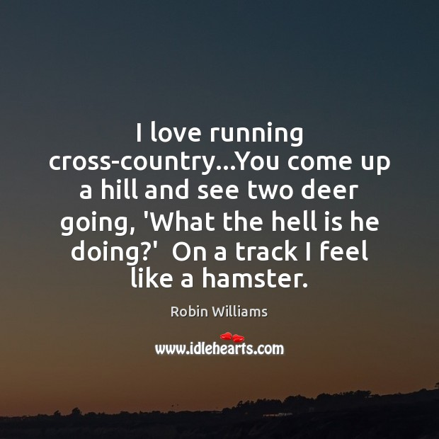 Image, I love running cross-country…You come up a hill and see two