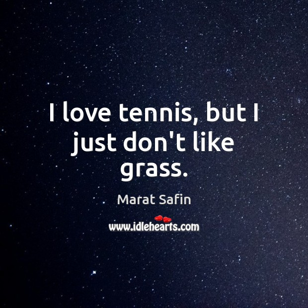 I love tennis, but I just don't like grass. Image