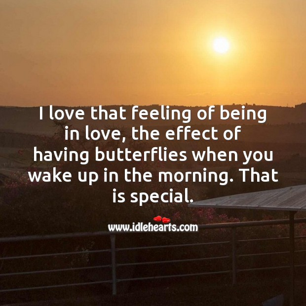 I love that feeling of being in love Cute Love Quotes Image