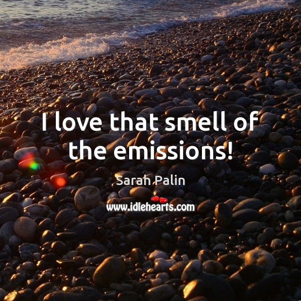 I love that smell of the emissions! Sarah Palin Picture Quote