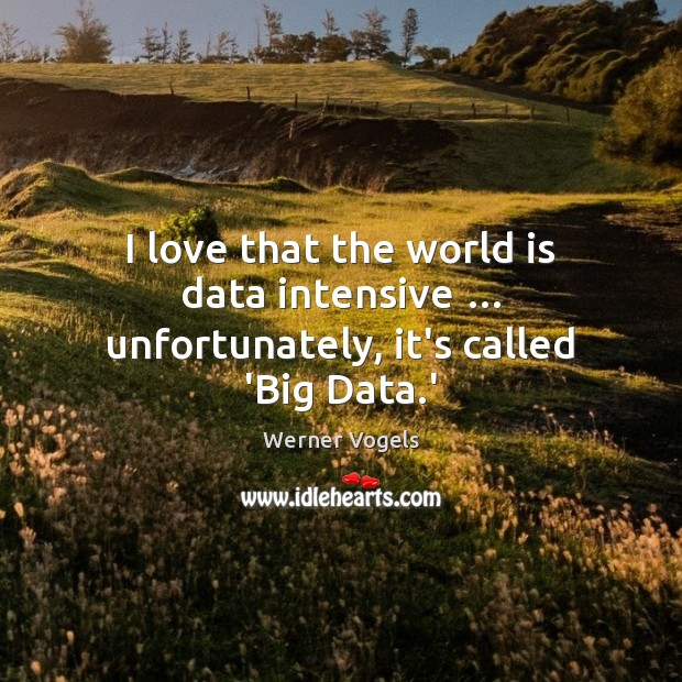 I love that the world is data intensive … unfortunately, it's called 'Big Data.' Data Quotes Image
