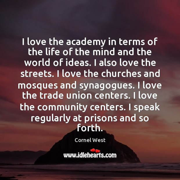 I love the academy in terms of the life of the mind Image