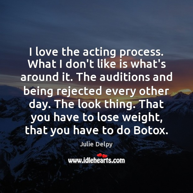 I love the acting process. What I don't like is what's around Julie Delpy Picture Quote