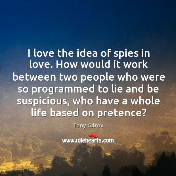 I love the idea of spies in love. How would it work Image