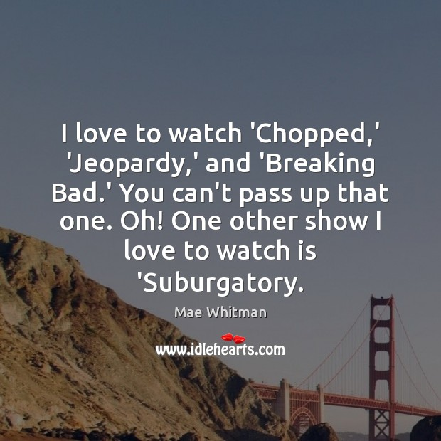 I love to watch 'Chopped,' 'Jeopardy,' and 'Breaking Bad.' Mae Whitman Picture Quote