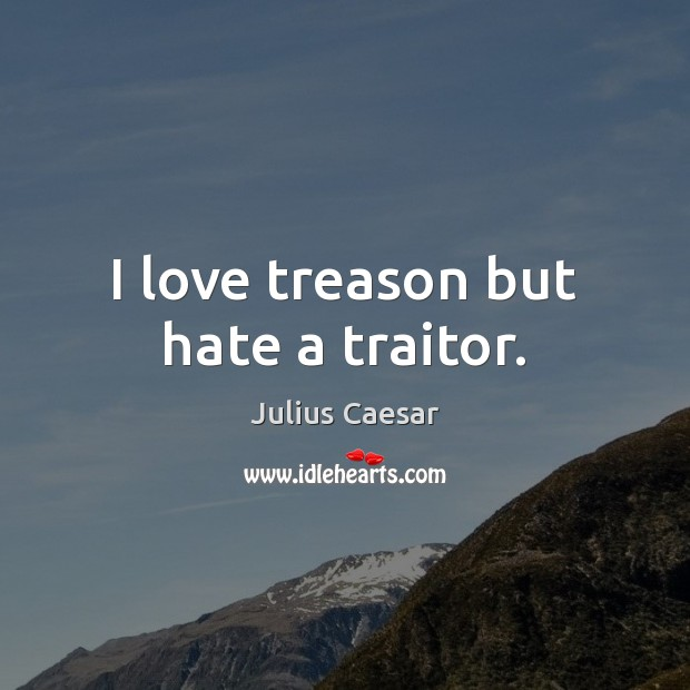 I love treason but hate a traitor. Image