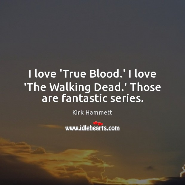 Image, I love 'True Blood.' I love 'The Walking Dead.' Those are fantastic series.