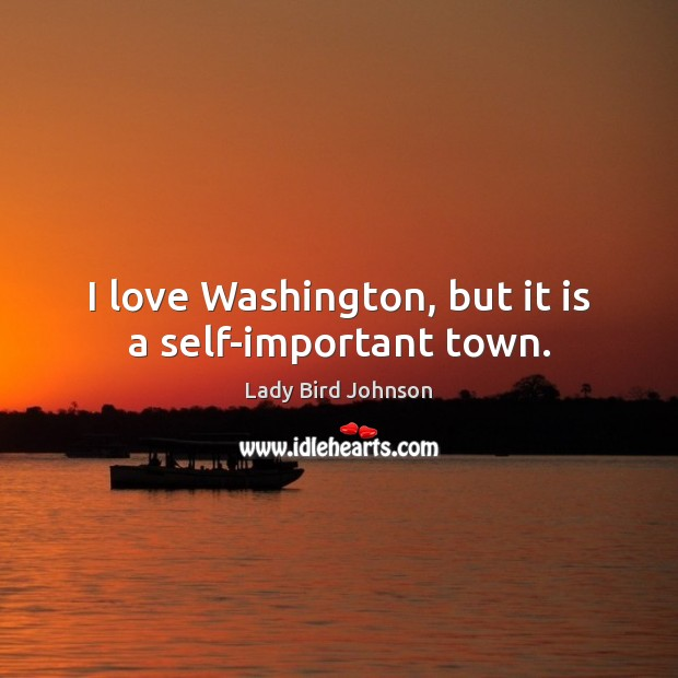 I love Washington, but it is a self-important town. Lady Bird Johnson Picture Quote