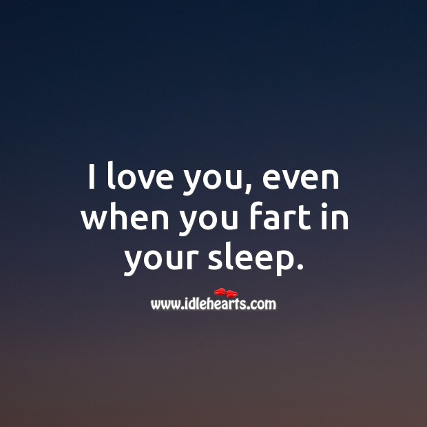 I love you, even when you fart in your sleep. Funny Quotes Image