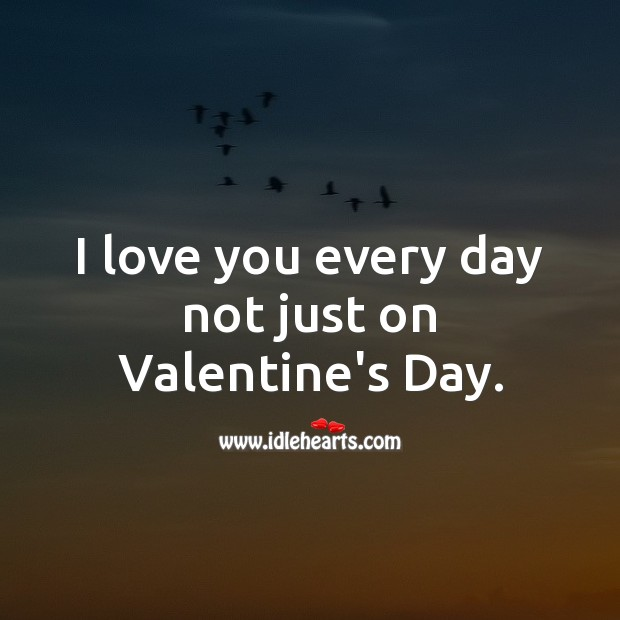 I love you every day not just on Valentine's Day. Valentine's Day