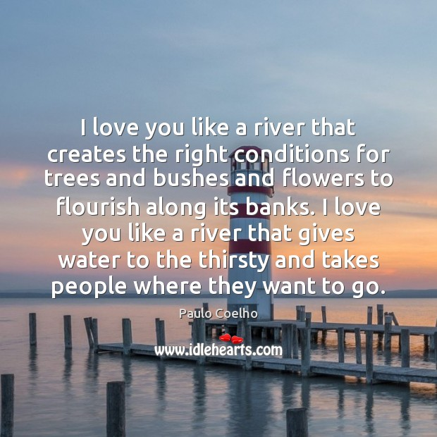 I love you like a river that creates the right conditions for Paulo Coelho Picture Quote