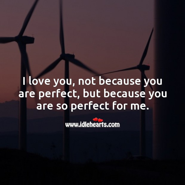 Image, I love you, not because you are perfect, but because you are so perfect for me.