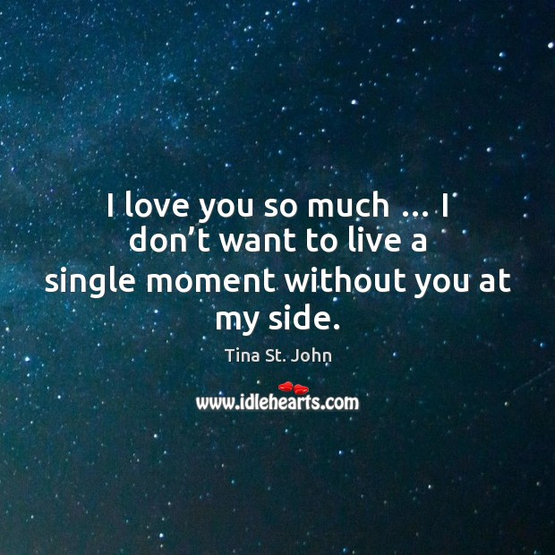 I love you so much … I don't want to live a single moment without you at my side. Love You So Much Quotes Image