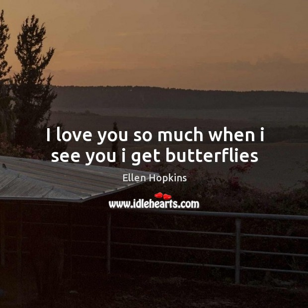 I love you so much when i see you i get butterflies Love You So Much Quotes Image
