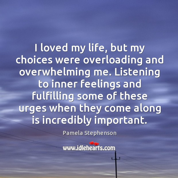 I loved my life, but my choices were overloading and overwhelming me. Image
