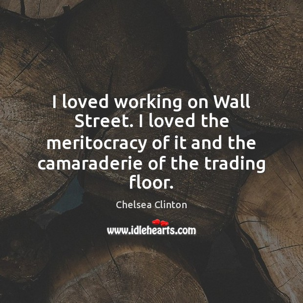 I loved working on Wall Street. I loved the meritocracy of it Chelsea Clinton Picture Quote