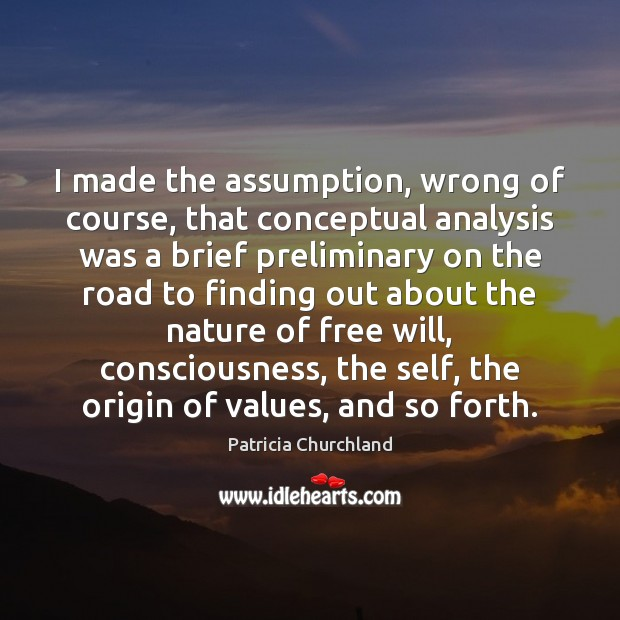 Image, I made the assumption, wrong of course, that conceptual analysis was a