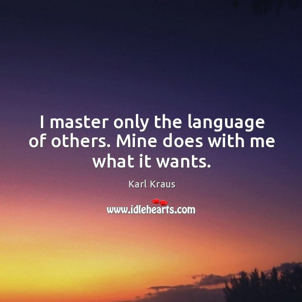 Image, I master only the language of others. Mine does with me what it wants.