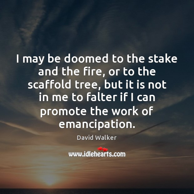 I may be doomed to the stake and the fire, or to David Walker Picture Quote