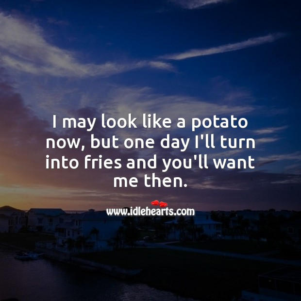 I may look like a potato now, but one day I'll turn into fries and you'll want me then. Funny Love Quotes Image