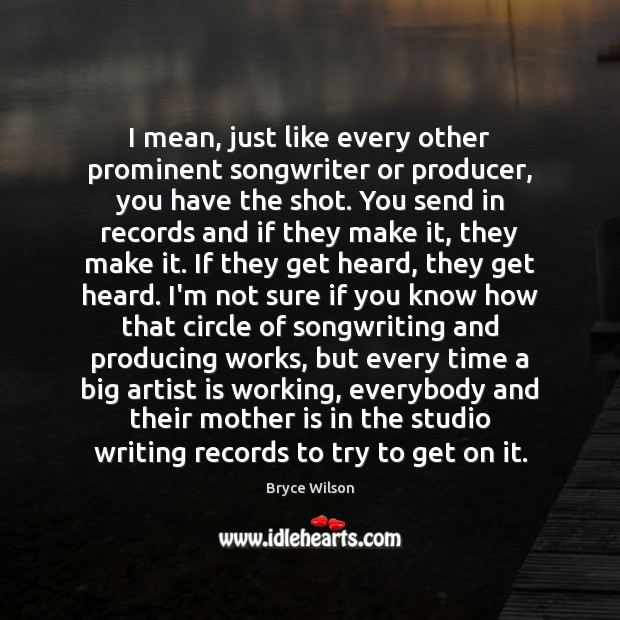 I mean, just like every other prominent songwriter or producer, you have Image