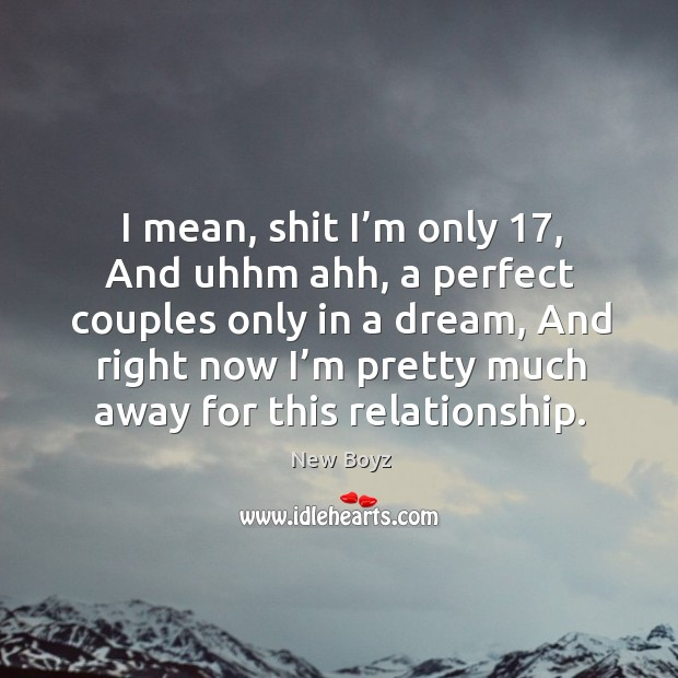 I mean, shit I'm only 17, and uhhm ahh, a perfect couples only in a dream. New Boyz Picture Quote