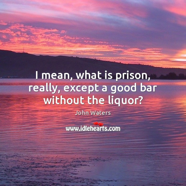 I mean, what is prison, really, except a good bar without the liquor? John Waters Picture Quote