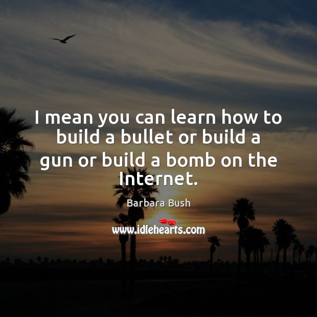 I mean you can learn how to build a bullet or build a gun or build a bomb on the Internet. Image