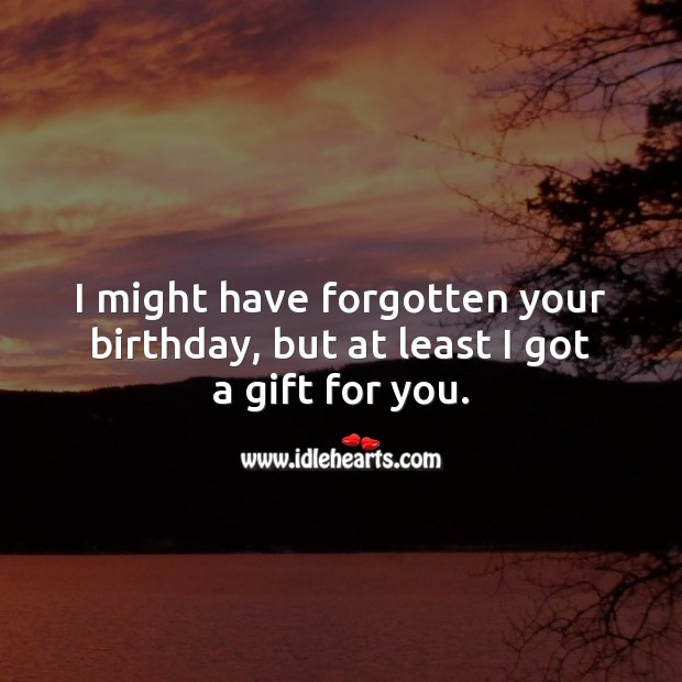 I might have forgotten your birthday, but at least I got a gift for you. Happy Birthday Messages Image