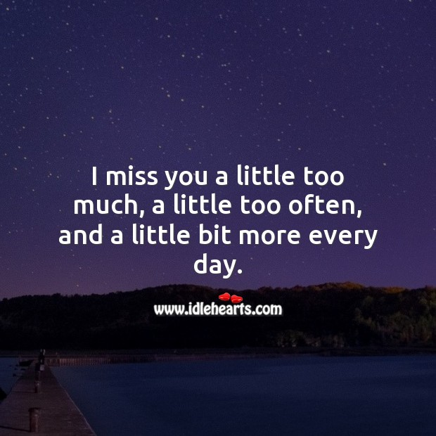 I miss you a little bit more every day. Miss You Quotes Image