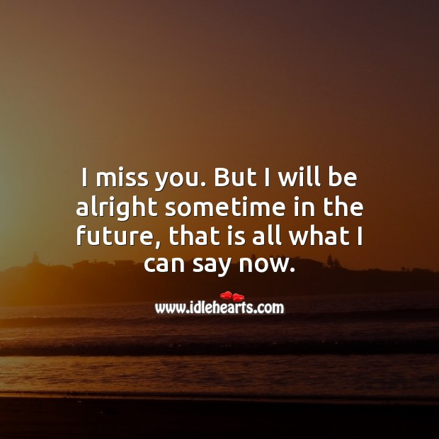 I miss you. But I will be alright sometime in the future. Miss You Quotes Image