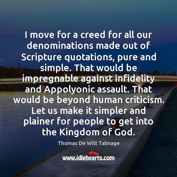 I move for a creed for all our denominations made out of Image